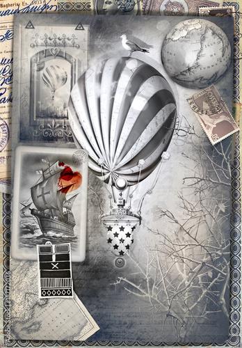 Poster Imagination Sfondo con misteriose mappe e cartoline vintage,mongolfiere,disegni,collage,vecchi francobolli e manoscritti. Souvenirs di viaggio