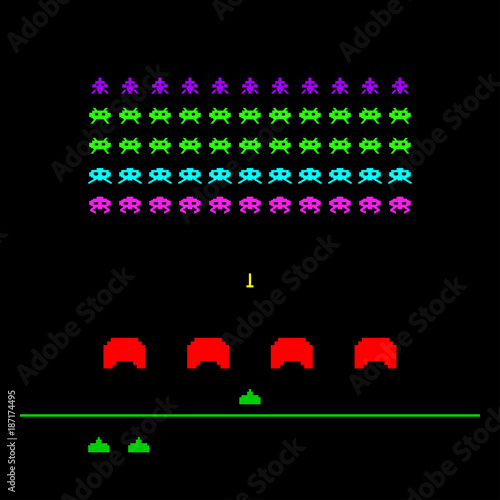 Photo Game with space, invaders, aliens