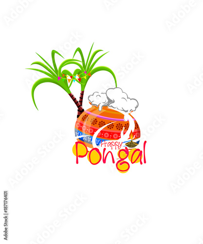 Foto op Canvas Vogels in kooien Happy Pongal greeting card on beautiful bright background. Poster. Postcard.