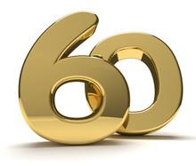 60 Golden Isolated 3d Rendering