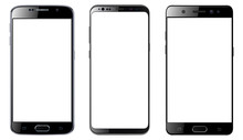 Smartphones Isolated With Blan...
