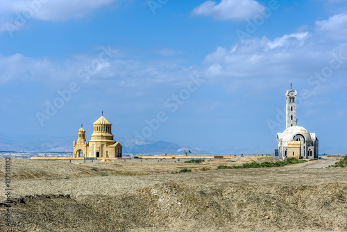 Photo Churches as seen from Al-Maghtas, Baptism Site, Bethany Beyond t