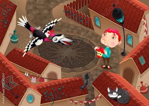 Staande foto Kinderkamer The woodpecker and boy with apple