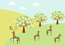 鹿の群れと春の景色。...
