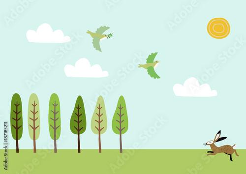 Keuken foto achterwand Lichtblauw 野兎と春の景色。風景。季節と自然のイラスト。素材。