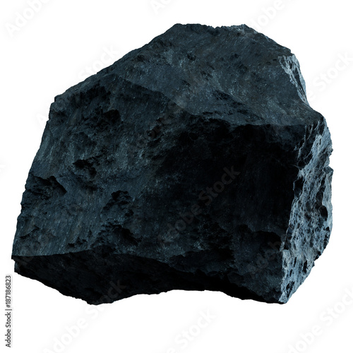Dark rock asteroid isolated 3D rendering