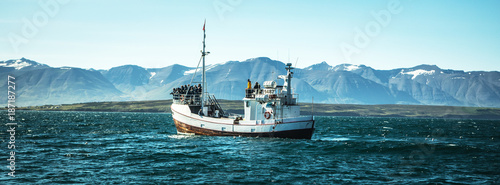 Valokuva Icelandic fishing boat for whale watching.