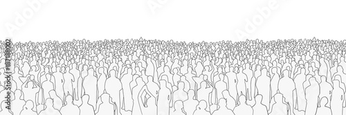 Obraz na plátně Illustration of large mass of people from wide angle in black and white