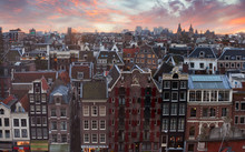 Roofs Of Amsterdam At Sunset, ...