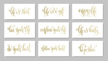 Set Of 9 Golden Hand Lettering Positive Quote About Love Life