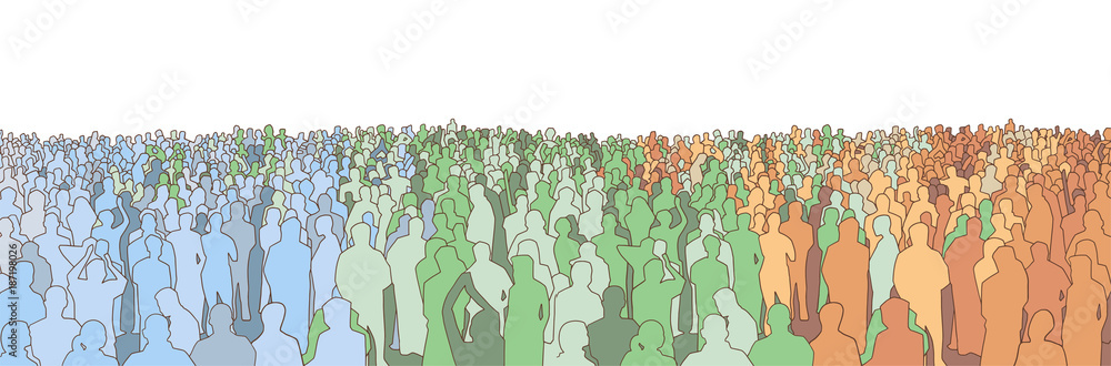 Fototapety, obrazy: Illustration of large mass of people from wide angle in color