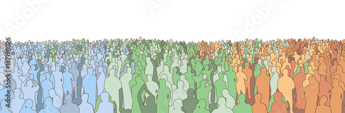 Fototapeta Illustration of large mass of people from wide angle in color obraz