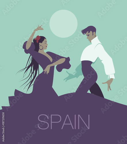 "Couple of flamenco dancers dancing ""sevillanas"", typical Spanish dance. Handsome man and beautiful long hair woman. Moon in the background."