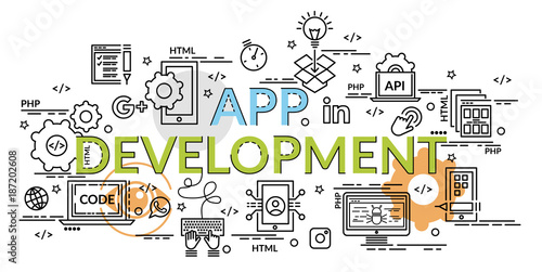 flat colorful design concept for app development infographic idea