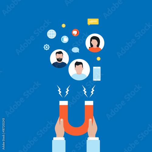Target market concept, attracting customers, customer retention flat vector ill Wallpaper Mural