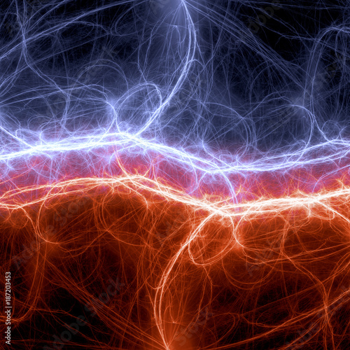 Photo Fire and ice plasma and energy electrical lightning background