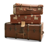 Three Old Suitcases Isolated O...