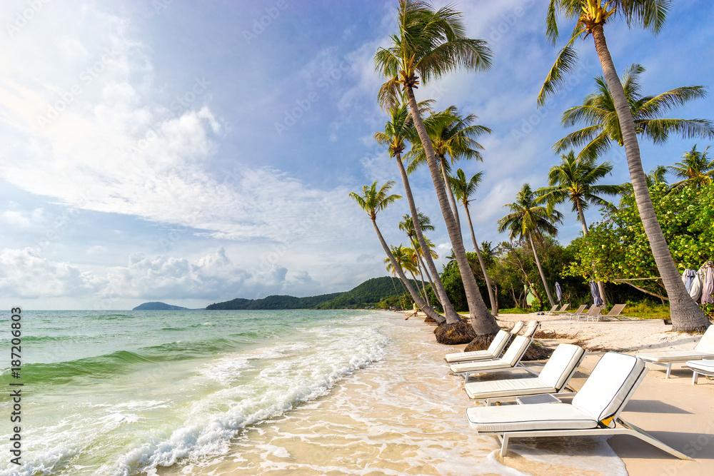Fototapety, obrazy: Sunbeds under tropical palms on beautiful Bai Sao beach in Vietnam on Phu Quoc island. Beach's smile