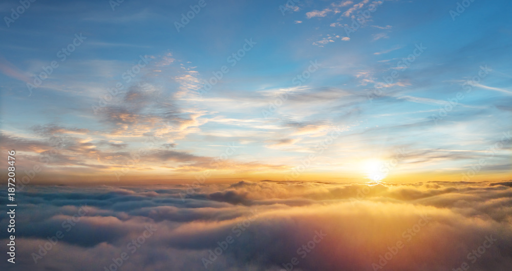 Fototapety, obrazy: Beautiful aerial view above clouds with sunset