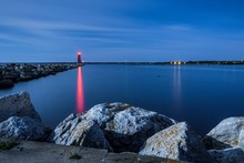 Lighthouse Beacon At Night. Th...