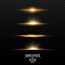 Golden Lights Effects Isolated On A Transparent Background. Bright Flashes And Glare Of Gold Color. Golden Rays Of Light. Glowing Lines. Vector.