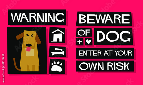 Warning Beware Of Dog Enter At Your Own Risk Poster Sign Board Design For Door Canvas Print