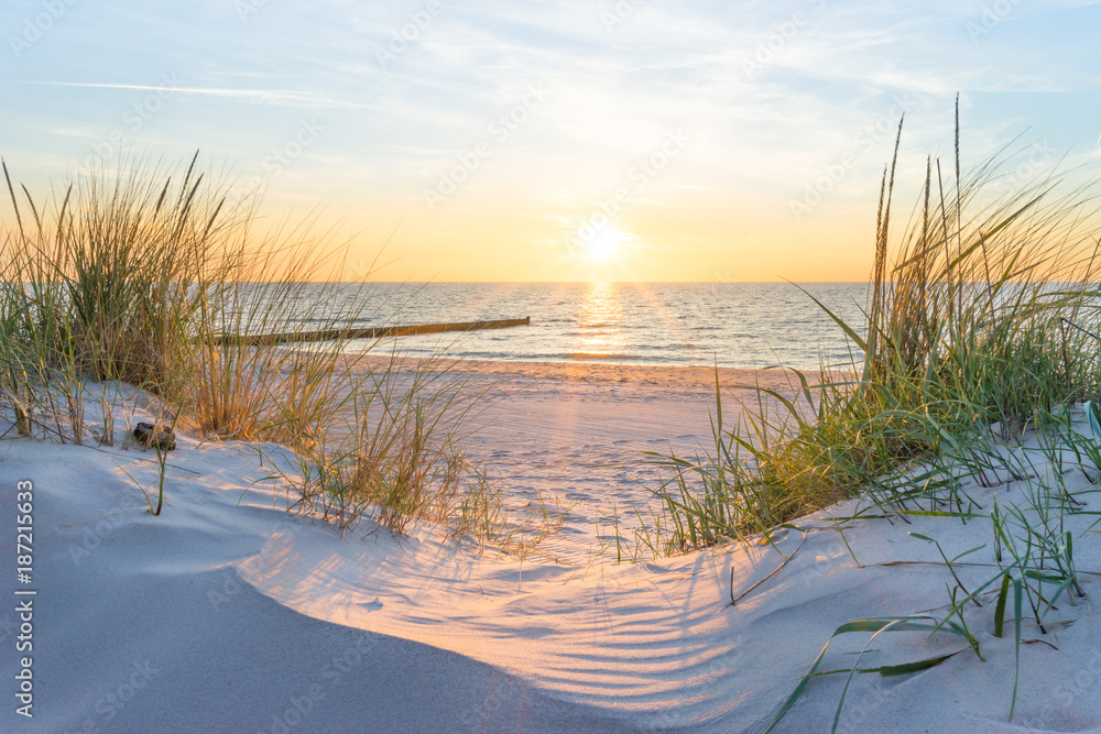 Fototapety, obrazy: Zachód słońca nad Morzem Bałtyckim