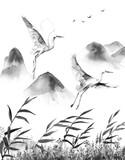 Scena górska z latającymi bocianami - 187219835