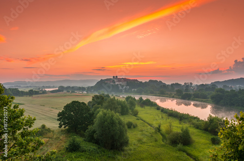 Papiers peints Corail Colorful morning landscape in the morning, Poland, Tyniec near Krakow
