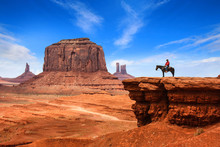Monument Valley With Horseback Rider ( John Ford's Point ) / Utah - USA