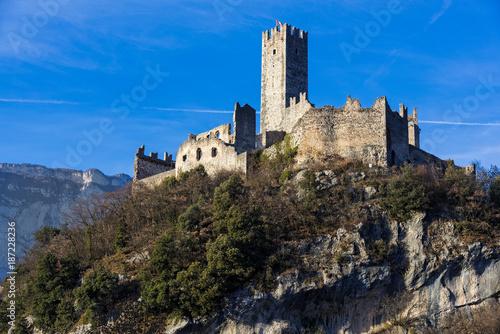 Valokuvatapetti View of Drena castle in Trentino, Italy