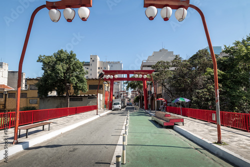 Torii Gate at Liberdade Avenue in Liberdade japanese neighborhood - Sao Paulo, Brazil