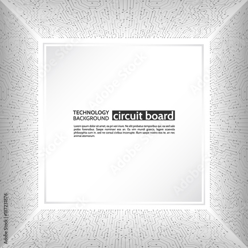 Circuit board in perspective. Abstract 3d electronic scheme on grey ...
