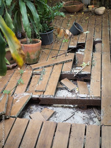 Ruins Cracked Wooden Floor And Iron Steel With Rust Buy This Stock