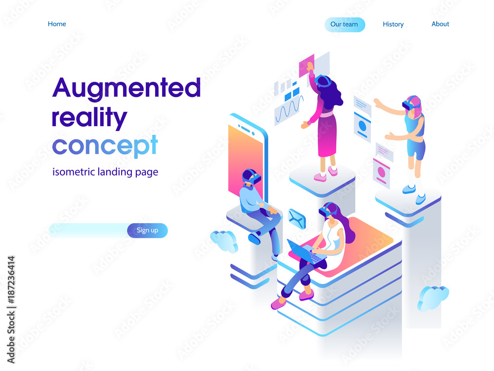 Fototapeta Virtual augmented reality glasses concept with people learning and entertaining. Landing page template. 3d vector isometric illustration.