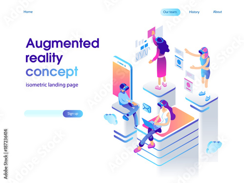 Virtual augmented reality glasses concept with people learning and entertaining Wallpaper Mural