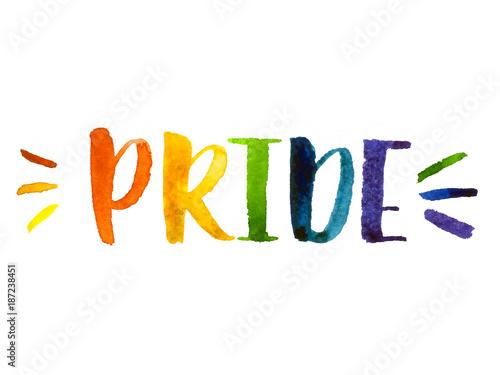 Fotografia  Gay pride watercolor lettering