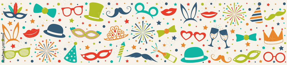 Fototapeta Panoramic header - carnival party, birthday party or photo booth. Vector.