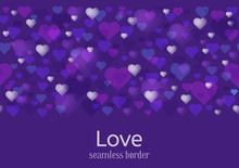 Happy Valentines Day Or Wedding Theme. Seamless Horizontal Pattern Or Border. A Lot Of Hearts On Ultra Violet Background. Vector Illustration