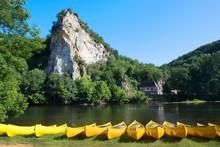 River The Dordogne With Canoes...