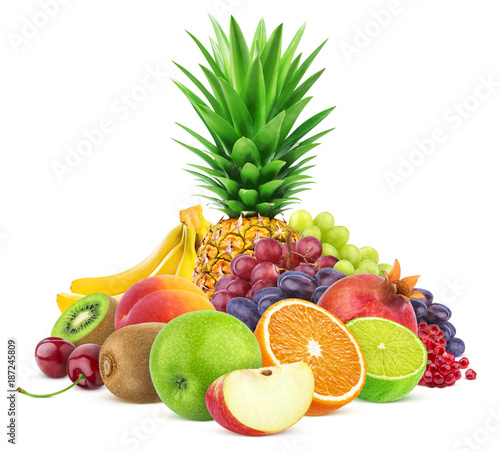 Poster de jardin Fruit Assortment of exotic fruits isolated on white background