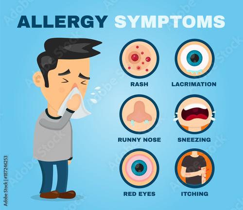 Allergy symptoms problem infographic vector Canvas Print
