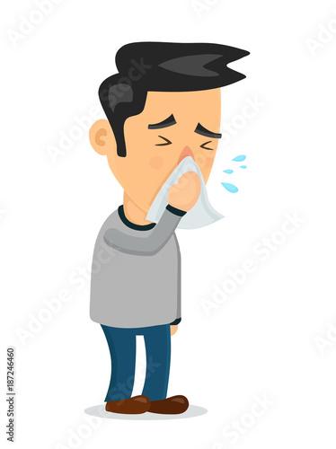Fotografia  Sneezing person man character.Vector flat