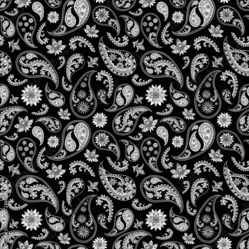 Fototapeta Black and white paisley pattern