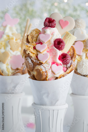 Bubble Waffle Zum Valentinstag Buy This Stock Photo And Explore