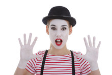 Jeune Fille Mime Maquillage Bl...
