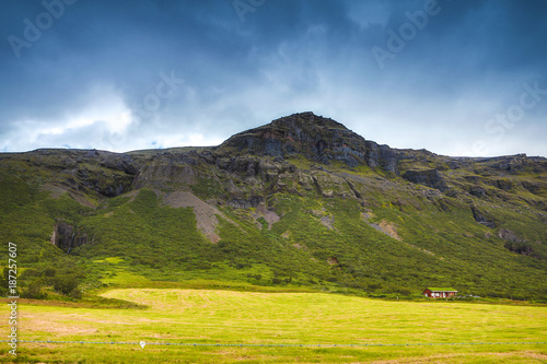 Photo Stands Pale violet Beautiful scenic landscape of Icelandic nature.