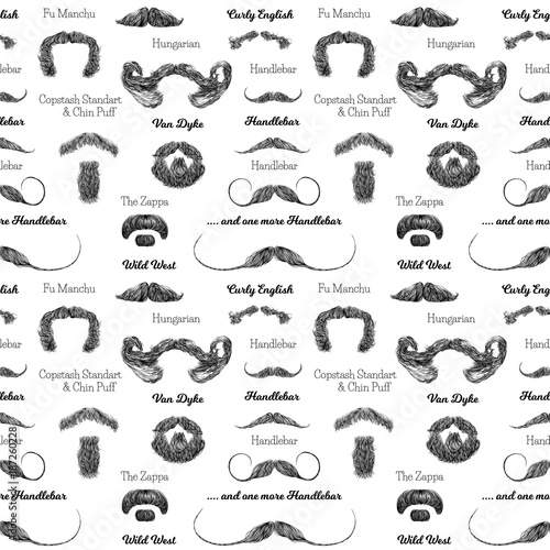 Pleasant Vector Seamless Pattern With Beards And Mustaches Hand Drawn Natural Hairstyles Runnerswayorg