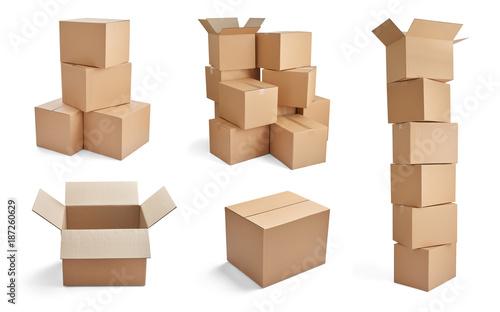 Stampa su Tela box package delivery cardboard carton stack