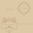 Set of art deco frames, badges, labels and borders. Vector illustration. Brown and golden vintage ornaments, graphic elements. Thin line geometric template for design